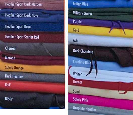 Range of One Paw hoodie colours