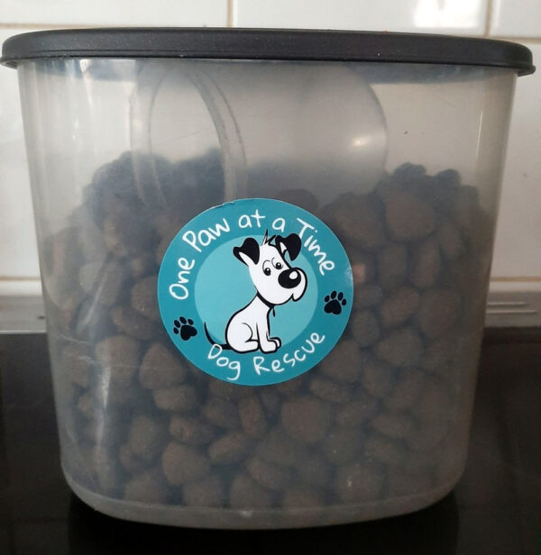 One Paw universal sticker on container
