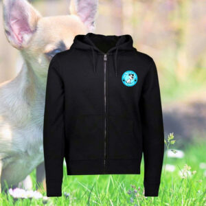 Front of black One Paw hoodie with zip